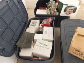 One of many bins with Dept 56 village houses and decor