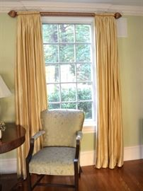 Four pairs of silk curtains available