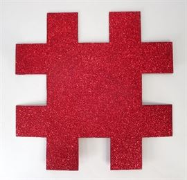 Mary Corse, b.1945, Sparkly Red Glitter Hashtag