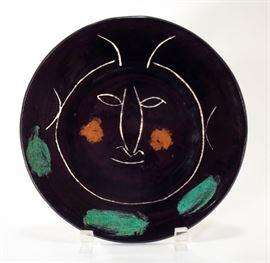 Pablo Picasso, Black Face H Earthenware Ceramic Madoura Plate, 1948