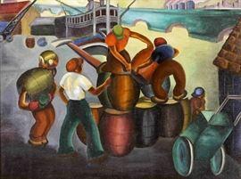 WPA era, c. 1935, Black Stevedores on the Mississippi Docks, oil on canvas painting