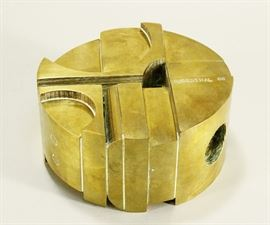 Tony Rosenthal, 20th C., 'Rondo' Brass Abstract Sculpture