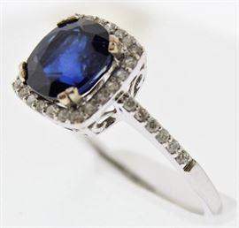 14K Diamond 2carat Sapphire Ring