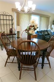 This Dining Table Set Is So Expectional That There Has Been A Pre-Sale Purchase Already! Traditional Black Wrought Iron With A Pine Top Baker's Rack