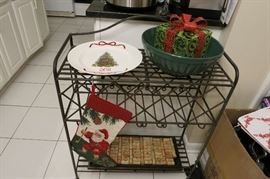 Heavy Gauge Wrought Iron Wine Rack With A Splash Of The Holidays!