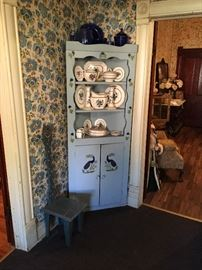 Lovely  Handpainted corner cabinet with cobalt blue glassware and English pottery