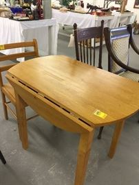 Solid Wooden Drop Leaf Table & Matching Chair