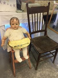 Antique Vintage Doll , Vintage highchair , Antique Chair