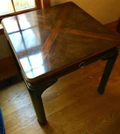 Pair of Drexel Heritage Mahogany End Tables with Pull Out Shelf