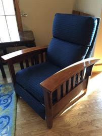 Ethan Allen Mission Style Blue Recliner Chair