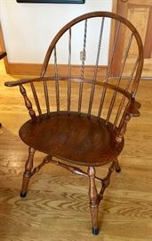 """L. Hitchcock Kitchen Windsor Style Table with 2 Leaves and 6 Chairs (36"""" x 22"""" x 58"""")"""