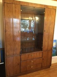 """Oak China Closet with Lighted Glass Shelving and Doors and 3 Drawers fromArtifacts by Henredon(59"""" x 15"""" x 78"""")"""