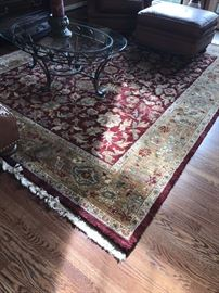 LARGE WOOL AREA RUG -HAND KNOTTED 8' X 10'