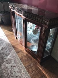 """ORNATE HEPPLEWHITE STYLE LIGHTED CURIO/ DISPLAY CABINET WITH GRANITE TOP 72"""" LONG X 17"""" WIDE AND 40.5"""" TALL"""
