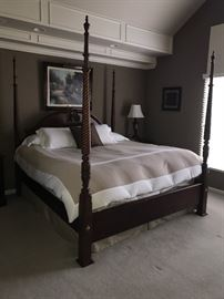 STANLEY FOUR POST KING SIZE BED-MATTRESS NOT INCLUDED
