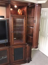 """LARGE WALL UNIT/ ENTERTAINMENT MEDIA CENTER WITH BOOKSHELVES-3 PIECE 113"""" LONG X 81"""" TALL AND 24"""" DEEP MSRP $5,000"""