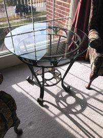 ROUND GLASS-TOP TABLE