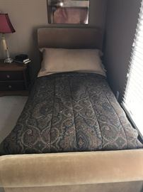 TWIN SIZE UPHOLSTERED SLEIGH BED