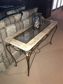 STONE AND GLASS TOP SOFA TABLE