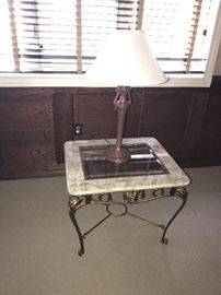STONE & GLASS-TOP SIDE TABLE
