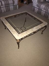 STONE & GLASS TOP COFEE TABLE