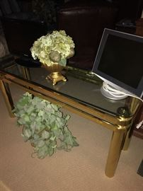 BRUSHED BRASS AND GLASS SOFA TABLE