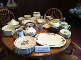Huge collection of collectible Pfaltzgraff Village dinnerware.  Multiple complete table settings and many hard to find unique Village items.
