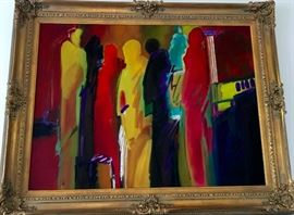 Large original oil painting in gold frame, signed