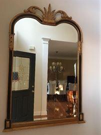 Designer mirror, gold/black decorative trim with crown