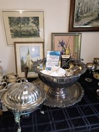 Silver Punch Bowl and Platter, only $85!  Perfect for New Year's Eve!