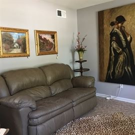Now $ 225.00. Lane Leather sofa with recliners, pair of oil paintings, antique 3 tier table and large Uttermost art of woman