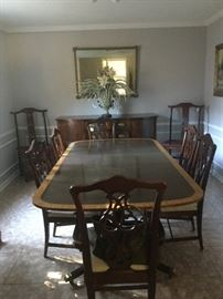 Baker Historic Charleston banded inlaid mahogany Dining table with six new chairs, Sunday price $1200.00