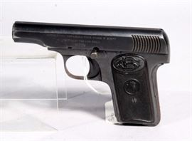Bufalo Automatica Espanola Pistol, .32 Cal, SN# 8674, Leather Case, Made in Spain, Believed to Be WWI Issue, Approx 1910