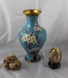 Cloisonne vase, rabbit and egg.