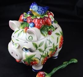 "McCall J. Icing on the cake, 5"" W x 6"" L strawberry piggy and bluebird jam jar with spoon."