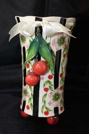 "McCall J. Icing on the cake, 7.5"" footed cherry vase with ribbon top."