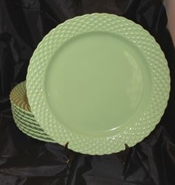 "Set of 8 green chargers made in Portugal with crossed pattern rims. 12.25"" Dia."