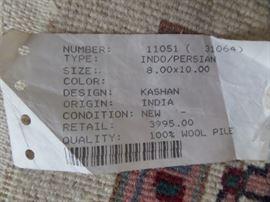 very nice, oriental rug, 8x10  retail price 3,995