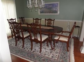We will be takin bids on this beautiful table 8 chairs and two leaves. This unit came from Hutsons in Cape Girardeau and is in superb condition. The rug under the table is 8x12 and is excellent quality - priced separate.