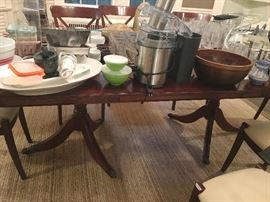 English dining room vintage table & 8 Grange chairs