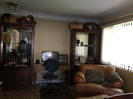 Over-sized Leather Chair & Ottoman, Sofa Table, Entertainment Centers.