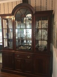 China cabinet with crystal & collectibles