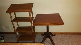 Oak book stand   $30   square table - $20  as is