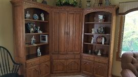 "3 piece oak entertainment center  $200   101""W x 6'8""H x 18""D"