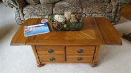 Oak low cocktail with drawers  - $75