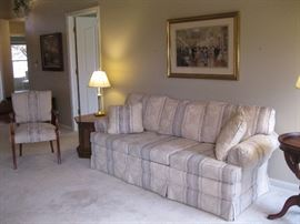 Sofa, matching side chair, end tables
