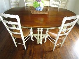 Drop leaf gate leg Dining or Kitchen table.  There are 6 ladderback chairs available separately.