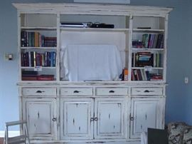 """Large shabby chic shelving unit 100"""" W x 94""""H. There are 2 additional shelves that can be added where the tv is sitting now. The step stool goes with it!"""