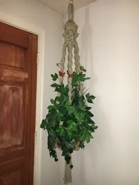 Vintage macramé plant hanger with cool butterfly beads.