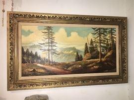 Vintage landscape oil painting.